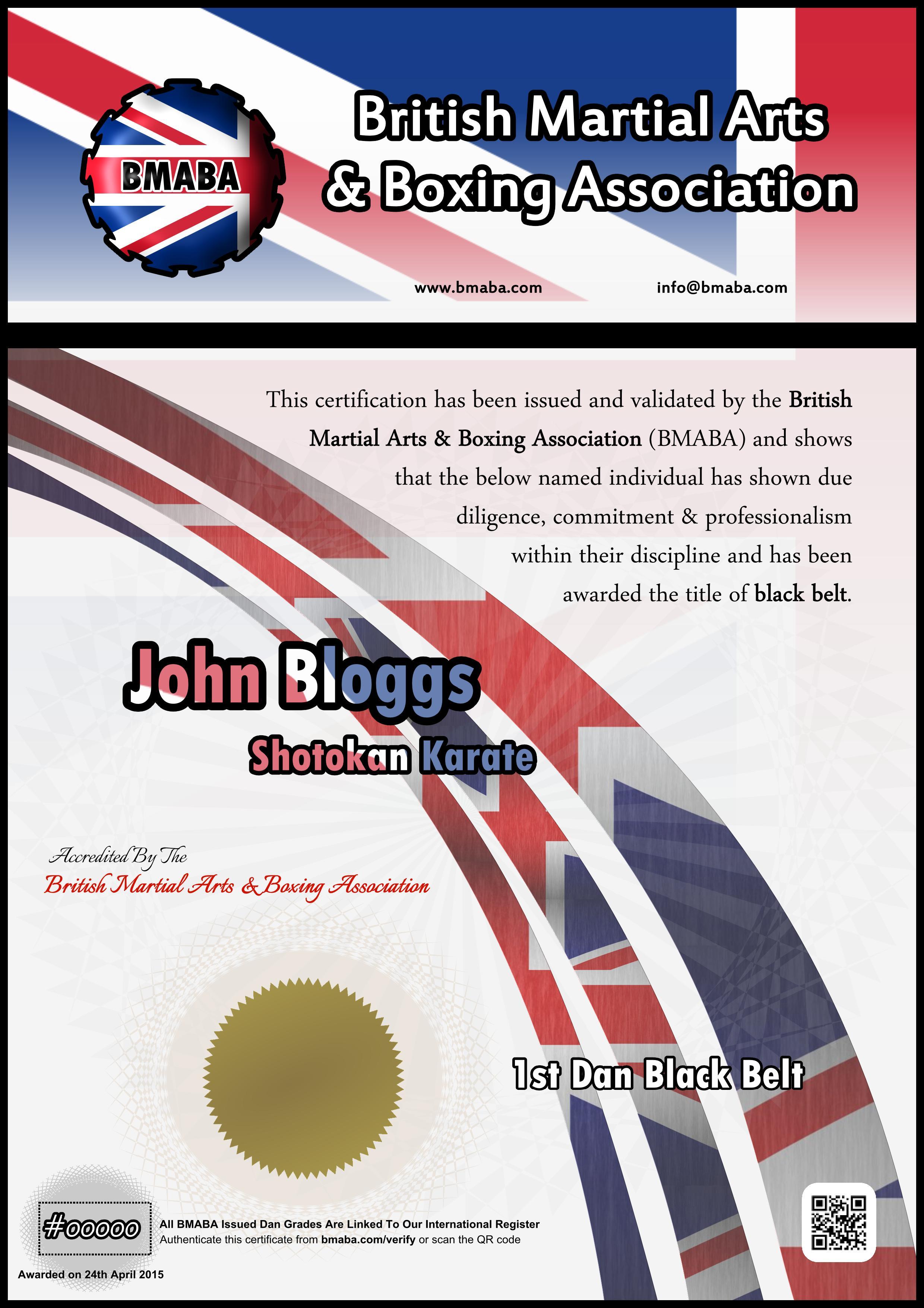 British Martial Arts & Boxing Association Black Belt